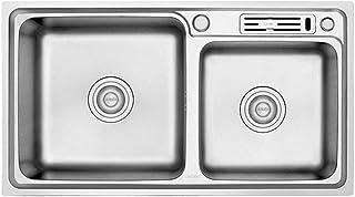 QingH yy Évier De Cuisine en Acier Inoxydable, Double Bol Anti-Corrosion Et Rouille Facile À Nettoyer (78cm X 43cm, Profon...