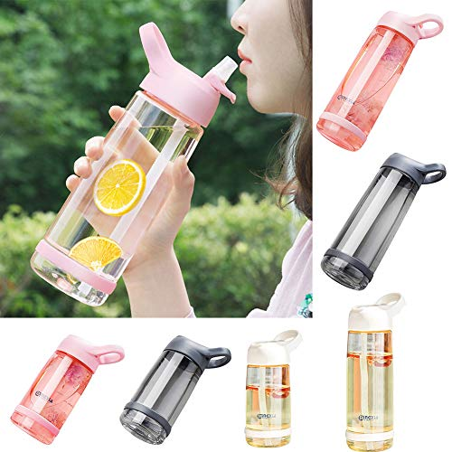 Steellwingsf 550 / 850ml Outdoor Cute Cartoon Kinder Saft Wasserflasche Trinkbecher mit Strohhalm Grau 850 ml