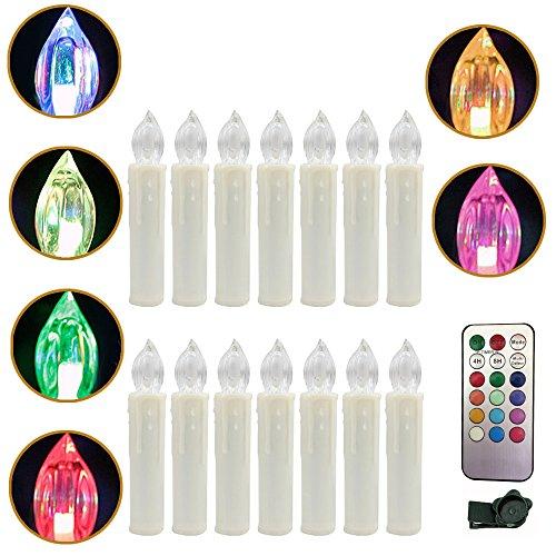 YESDA RGB Flammenlose LED Taper Weiß Christmas Kerzen Licht Kerzen betrieben, mit Fernbedienung, für Weihnachten, Weihnachtsbaum, Hochzeit, Votiv, Hochzeitsdeko, Partys, Geburtstags (30 Stück)