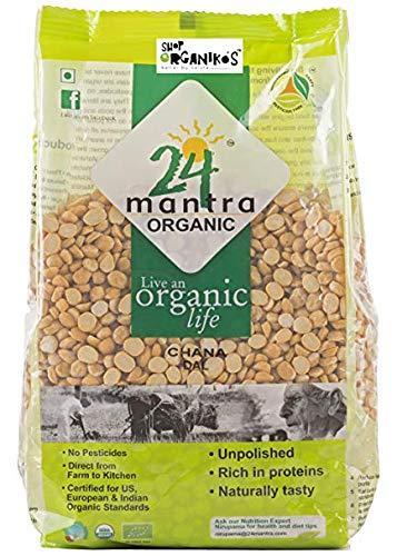 Organic Chana Dal Split - Split Bengal Lentils - Split Bengal Gram USDA Certified Organic Pesticides Free Adulteration Free Sodium Free - 4 Pounds (Lb) - 24 Mantra Organic