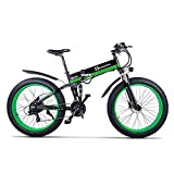 XXCY Bicicletta elettrica da Uomo E-Bike Fat Snow Bike 1000W-48V-13Ah Li-Batteria 26 * 4.0 Mountain Bike MTB Shimano 21-velocità Freni a Disco Intelligent Electric Bike (01verde)