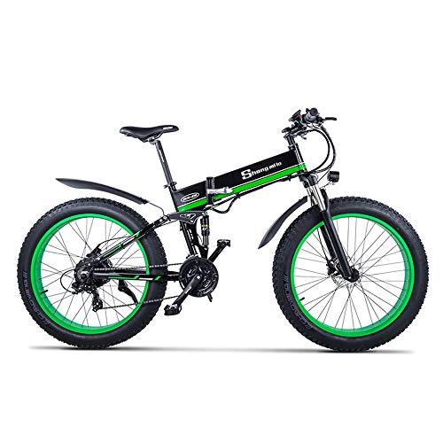 XXCY Bicicletta elettrica da Uomo E-Bike Fat Snow Bike 1000W-48V-13Ah Li-Batteria 26 * 4.0 Mountain Bike MTB Shimano 21-velocità Freni a Disco Intelligent Electric Bike (01verde)