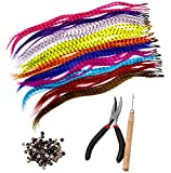Lvcky Kits de extensión de pelo sintético con 52 extensiones de pelo sintético de varios colores, 100 cuentas, alicates y gancho (colores brillantes y bonitos mezclados)
