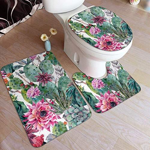 RedBeans Ensemble de 3 tapis de bain antidérapants en flanelle avec motif fleur de cactus, tapis de douche et tapis de contour WC