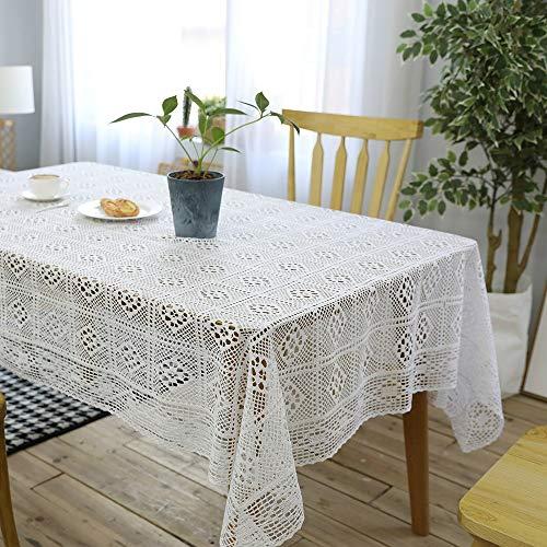 QX-DIMDIM Gestrickte weiße Häkeltischdecke ausgehöhlte Baumwolltischdecke Couchtisch Tischdecke Tischdeckenbezug Handtuch (Color : White, Size : 140 * 160)