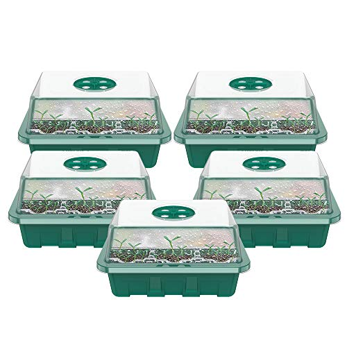 harupink 5Pezzi Vassoi di Avviamento per Piantine,Vassoi per Piante con Cupole Ventilate,Mini Kit di Propagazione per Piantine in Serra,per Piantine per Germinazione,Coltivazione in Serra (Verde)