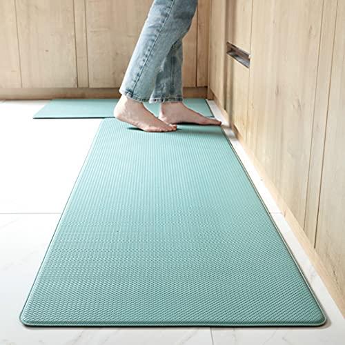 Juego de 2 alfombras antideslizantes de cocina lavables, gruesas, antifatiga, impermeable, resistente al aceite, duradero y fácil de limpiar (45 x 75 cm + 45 x 150 cm)