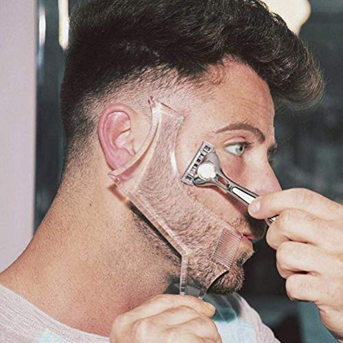 Men's Beard Shaping Tool With Inbuilt Comb Transparent Template...