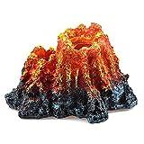 ANCLLO Acuario Volcán Adornos de pecera Decoración de Tanque de Peces con Burbujador de Aire Piedra Resina realista Volcán Lava Colorido Tanque de Peces de Montaña Ornamento para Acuario Pais