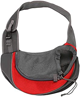 TOOGOO Pet Dog Sling Carrier Breathable Mesh Travel Safe Sling Bag Carrier for Dogs Cats Small Red