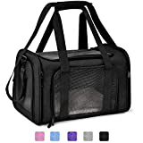 Henkelion Cat Carriers Dog Carrier Pet Carrier for Small / Medium Cats Dogs Puppies (Up To 15lbs), TSA Airline Approved Small Dog Carrier Soft Sided, Collapsible Waterproof Travel Puppy Carrier -Black
