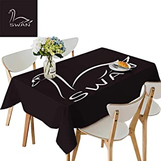 UHOO2018 Square/Rectangle Indoor and Outdoor Tablecloth sw on Black backgroun wil imals Restaurant Party,54 x121inch.