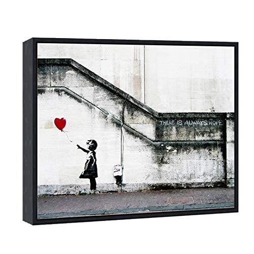 Wieco Art Tela emoldurada arte de parede giclée impressões em tela de Banksy Grafitti Girl com balão vermelho arte abstrata para decoração de parede, moldura preta BANKSY-1-5060-BF