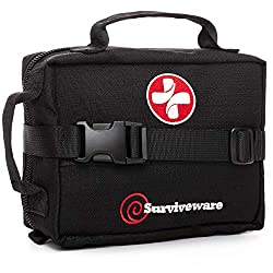 Surviveware Survival First Aid Kit for Outdoor Preparedness –...