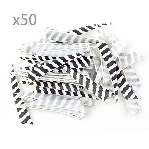 """VERY100 50 Stück Naturfedern Federn Shield Cut 4"""" RW Truthahnfedern Pfeilfedern (Zebra)"""