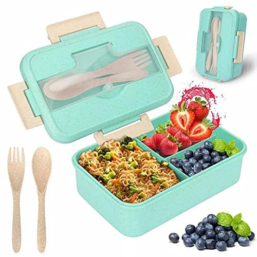 LVkele Lunchbox, Lunchbox, 1200ml auslaufsichere Bento-Box mit 3 Fächern und Besteck (Gabel und Löffel), Für Büro, Picknick, Schule