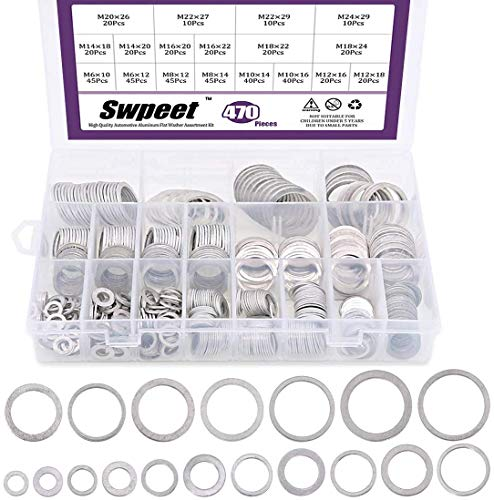 Swpeet 470Pcs Automotive Metric Oil Drain Plug Gasket Aluminum Flat Washer Assortment Kit, Including 18 Different Sizes - M6 M8 M10 M12 M14 M16 M18 M22 M24