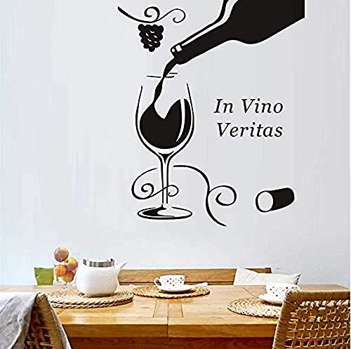 Art Muursticker DIY Home Versier Zwarte Vino Veritas Wijnglas Fles Bloem Druif Muursticker Badkamer Keuken Koelkast Decoratie 43X52Cm