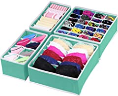 Good for organizing your lingerie, socks, underwear when you finish laundry and easy to access them while you need it. Made with non-woven fabric which is mold-proof The item includes 4 bins: 6 cell(scarves, ties), 8 cell(underwear, briefs, ties), 7 ...