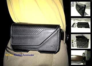 Nite Ize Black Executive Genuine Leather Horizontal Heavy Duty X-large Holster Pouch W/Rugged Fixed Belt Clip for Motorola Droid Razr HD Xt926 Maxx