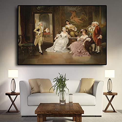 sanzangtang Europäisches Retro-Parteipalastporträt-Ölgemäldeplakat und drucken Leinwandkunstwohnzimmer-Wandbild rahmenloses Gemälde 30cmx45cm