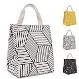 HOMESPON Reusable Lunch Bags Printed Canvas Fabric with Insulated Waterproof Aluminum Foil, Lunch Box for Women, Kids,...