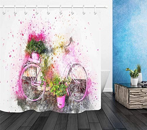 ZZZdz aquarelschilderij. fietsen en bloemen. Douchegordijn. 180 x 180 cm. 12 vrije haken. Huisdecoratie. 3D Hd-druk. Eenvoudig te reinigen. Badkameraccessoires.