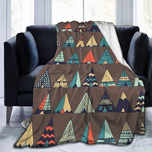 Ahdyr Micro Fleece Plush Soft Baby Blanket Cute Cartoon Teepee Native American Summer Tent Blanket Lightweight Flannel Daycare Nap KidsThrowanket Girls B