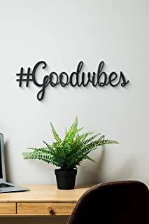 300Sparkles Good Vibes Cutouts Plaque Sign Wall Hangings Home Room & Wall Decor Wall Art Black 16 x 5.5 INCH