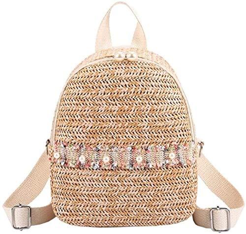 OH Ms Backpack Woven-Straw Shopper Hamper Storage Hamper Beach Party Folding Bag Carrybag Storage Bag Beach Bag Woven Basket Christmas Present Hamper Storage Basket