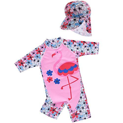Traje de Baño para Niñas Bañador Bebé Protección Solar UV Flamenco Traje de Buceo Una Pieza Ropa de Natación y Gorra de Natación
