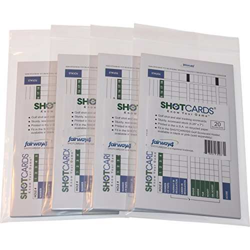 Fairway4 SHOTCARDS - Golf Shot and Stat Tracking Scorecards - 4 Pack (80) - Pinpoint Weaknesses and Improve Your Golf Game - Training Aid - Detailed Golf Score Tracking