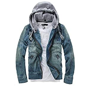 Men's Hipster Slim Fit Zip Up Removable Hooded Denim Jackets Outwear