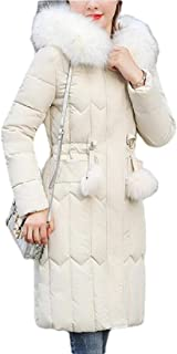 Womens Faux-Fur Collar Parka Quilted Outdoor Thicken Hoodies Down Jacket Coats