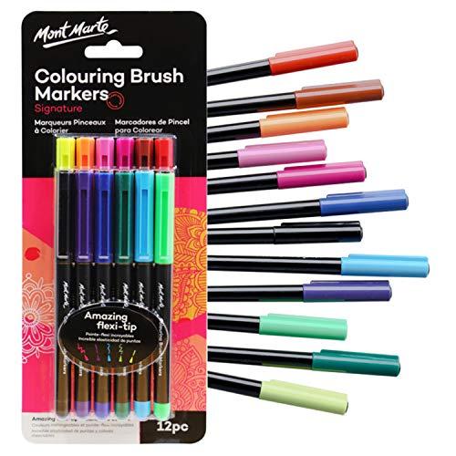 Mont Marte Pinselstifte Set – 12 Stück – Ideale Marker für Adult Colouring, entspannendes Malen, Ausmalbücher für Erwachsene, Hand-Lettering und Kalligraphie