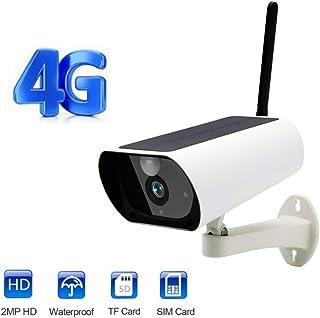 TONGTONG Cámara gsm inalámbrica de 4G con Tarjeta SIM alimentada con energía Solar para Seguridad al Aire Libre en Interiores cámara IP Full HD 1080P