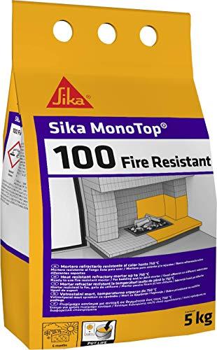 Sika Monotop-100 Fire Resistant, Mortero refractario de fraguado rápido para la construcción y reparación de elementos resistentes al calor hasta 750°C, Gris, 5kg