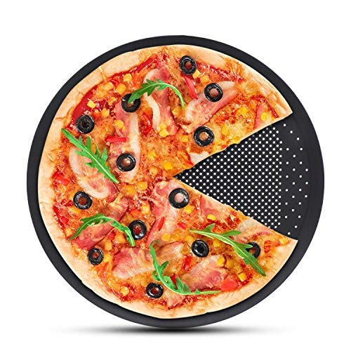 Perforated Pizza Crisper, Segarty 12 inch Pizza Plate for Oven, Thickened Steel Round Pizza Pan with Holes, Professional Pizza Sheet Baking Tray Bakeware for Home Restaurant Kitchen