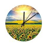 Reloj de pared de madera con diseño de girasol, para cocina, oficina, salón,...