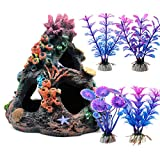 Magicwolf Acuario colorido arrecife de coral juego de decoración de pecera de la montaña adorno para ambientes de acuario, accesorios de decoración, montaña de coral x 1, planta acuática x 4