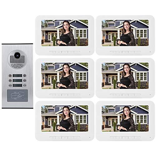 Video Doorbell Videoportero Intercom 6 Apartamentos 7in Doorbell Kit De Intercomunicación Inteligente Night Vision Doorbell 1000tvl Hd Video Door Putton Teléfono Intercomunicador Cámara De Corte Ir (1