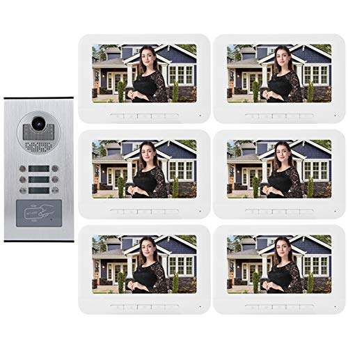 Timbre para videoportero Video Intercom Doorbell 6 Apartments 7in 1000tvl HD Video Door Phone IR-Cut Camera Monitor Smart Doorbell 100V-240V para Inicio Interior