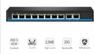 QLPP Gigabit 10 Port Poe Switch Support IEEE802.3af/at IP Cameras and Wireless AP 10/100/1000Mbps 48V Standard Network Switch