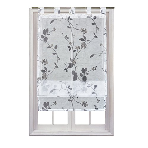 JEMIDI Raffrollo Luisa transparent mit Blüten in 3 verschiedenen Größen Raffgardine Fensterrollo Schlaufenrollo Schlaufen Scheibengardine Vorhang Dekogardine Weiß 60cm x 140cm