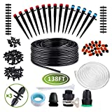 Drip Irrigation System Kits Garden - 138ft Automatic Plant Watering System with Adjustable Nozzle Sprinkler...