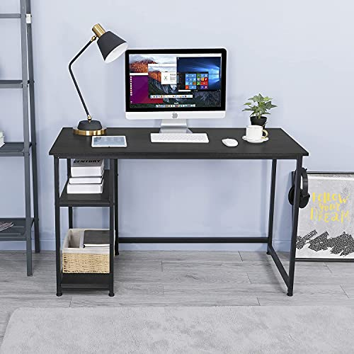 AuAg Computer Desk Home Office, PC Desk with 2 Shelves, 47 inch Writing Table with Adjustable Storage, Modern Vintage Laptop Study Table Workstation, Gaming Desk with Headphone Hook (Black)