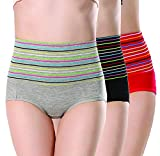 PLUMBURY® Women's Cotton High Waist Full Coverage Tummy Control Panty (Pack of 3) Grey/Black/Red