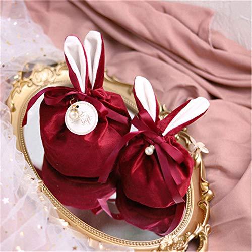 GLJYG Elegante bolsa de terciopelo para caramelos con perlas sintéticas, broche para...