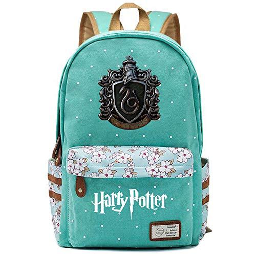 NYLY Dot Floral Schultasche, Mädchen wasserdichte weiche Tasche junge leichte Laptop Rucksack Slytherin College Lunch Bag Große S-14