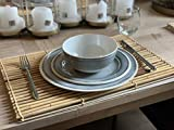 Camping Geschirrset für 4 Personen Grau aus Melamin Picknick Geschirr Campinggeschirr Tafelgeschirr